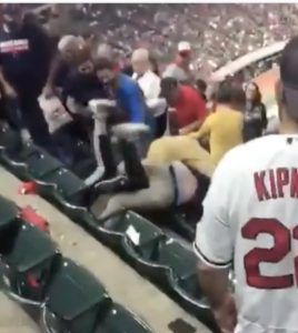 Watch Thug Indians Fans Take a Tumble While Brawling in Bleachers (Video)